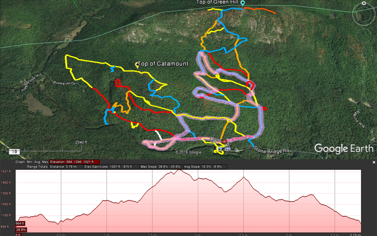 Overlay of 6K Snowshoe Race over Google Earth Trails